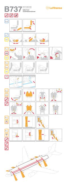 Safety Card for Lufthansa Technical Illustration, Technical Drawing, Print Packaging, Packaging Design, Visual Communication Design, Safety Instructions, Instructional Design, Information Design, User Guide