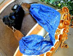 Blue Lace Floral Scarf Camera Strap by EarthtoEmerald on Etsy