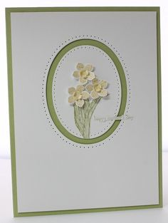 Card suitable for Mothering Sunday or Easter using SU Petite Petals.