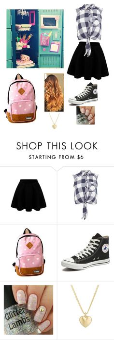 """school outfit"" by marilyn341 ❤ liked on Polyvore featuring Miss Selfridge, Converse and Finn"