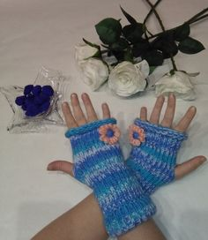 Arm Warmers Fingerless Gloves Blue gloves for woman by knittyshop