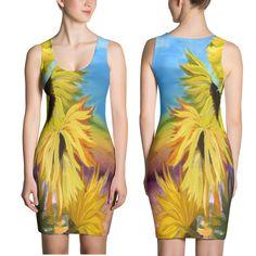 Sunflowers field floral art dress
