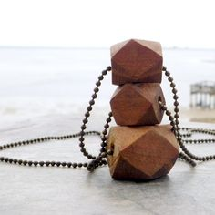 geometric necklace wood beaded trio vintage brass chain by Novella, $20.00