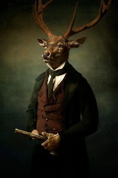 the bestial gentleman hunter, man with a deer's head and gun, costume portrait fantasy Canvas Art, Canvas Prints, Art Prints, Animal Heads, Shades Of Black, Antlers, Fine Art Photography, Vivid Colors, Picture Frames