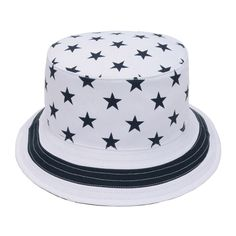 White & Navy US Flag Stars Bucket Hat