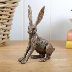 Ted Hare Frith Bronze Sculpture by Thomas Meadows, small alert hare in cold cast bronze www.interiorgifts.co.uk