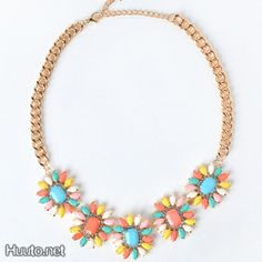 Colorful flower necklace $20 + worldwide shipping #summer #spring #accessory #fashion #statement #jewelry