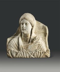 Important hellenistic marble relief of the goddess Demeter. 4th century B. C. 21,25 in. high - 20,66 in. long.