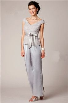 Pant Suits V-neck Ankle-length Chiffon Lace Mother of the Bride Dress