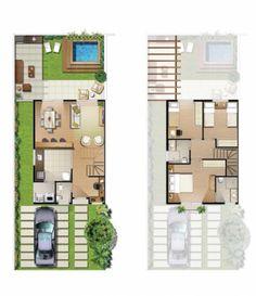Plantas de casas com escada: 15 modelos Duplex House Plans, Dream House Plans, House Floor Plans, Craftsman Floor Plans, Simple House Plans, Small House Design, Architecture Plan, House Layouts, House Goals