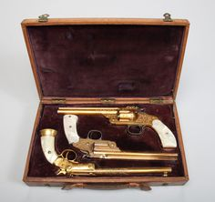 Cased presentation pistols, manufactured by Smith & Wesson and J. Stevens Arms & Tool Company, circa 1891. Owned by sharpshooter Annie Oakley. Autry National Center; 86.23.2