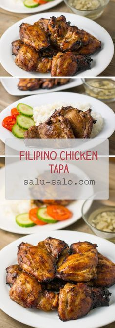 Chicken tapa is a Filipino style chicken where the chicken is marinated overnight in vinegar, soy sauce, garlic and ginger ale and then fried to perfection. Filipino Recipes, Asian Recipes, Healthy Recipes, Ethnic Recipes, Filipino Food, Chicken Recipe Filipino Style, Chicken Recipes Pinoy, Vegetarian Recipes, Comida Filipina