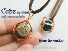 Wrapped Open Cube Pendant Tutorial for Captures Loose Beads or for a Rubik's Cube! (The Beading Gem's Journal) - Jewelry! -Wire Wrapped Open Cube Pendant Tutorial for Captures Loose Beads or for a Rubik's Cube! (The Beading Gem's Journal) - Jewelry! Copper Jewelry, Crystal Jewelry, Wire Jewelry, Jewelry Crafts, Beaded Jewelry, Handmade Jewelry, Jewelry Ideas, Amber Jewelry, Jewlery