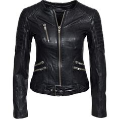 Primeboots Prime Tog Alexia ($585) ❤ liked on Polyvore featuring outerwear, jackets, womens-fashion, lined leather jacket, leather zip jacket, black jacket, black zip jacket and zip jacket