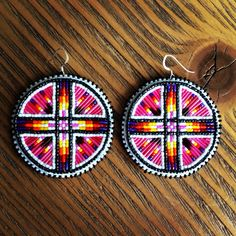 Beaded quill earrings #hotpink