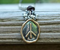Organic Peace Sign Necklace Sterling Silver Leather by amyfine