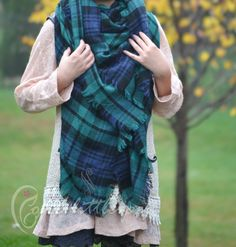 Blanket Scarf, monogram, blanket scarf plaid, gift for her, personalized gift, green, Fall Plaid Scarf, stocking stuffer, winter, fall, sc01