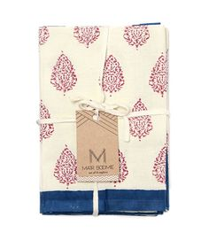 Block Print Napkins - Deep Red and Blue (Set of 4) - Matr Boomie
