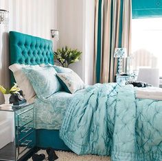 all in the same tone of turquoise, but take a look at this bed table #mirror