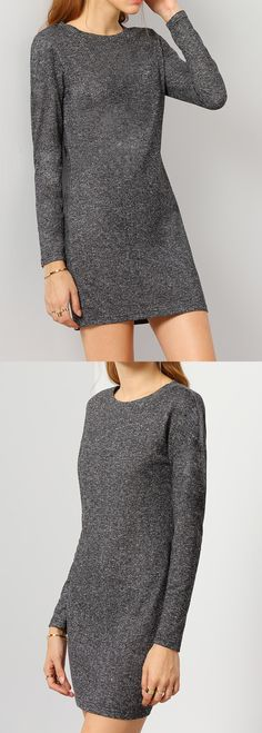 This Grey Casual Dress featured in round neck, long sleeve and knee length. It has very stretchy material & perfect fit line. US$7.69 at romwe.com now.