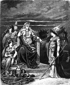 Frigg, enthroned and facing the spear-wielding goddess Gná, is flanked by two goddesses. One of whom, Fulla, carries her eski, a wooden box. Illustrated (1882) by Carl Emil Doepler.