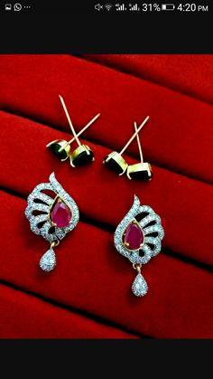 5d10576df EAR742, Daphne Three Shade Changeable AD Earrings for women - Ruby ...