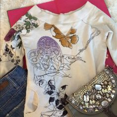 Printed crew neck sweater Gently used, minor stain on sleeve, price negotiable Urban Outfitters Sweaters Crew & Scoop Necks