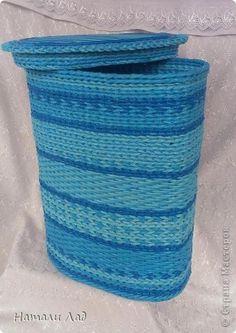 Поделка изделие Плетение Две большие коробки Трубочки бумажные фото 3