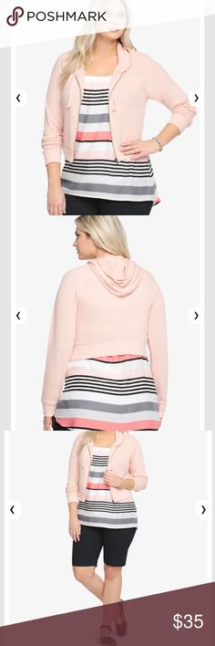 Torrid Plus Size Blush Pink Cropped Hoodie Jacket ✨ zipper closure ✨ very soft ✨ comfortable  ✨ 60% cotton 40% polyester  ❌ No Trades ❌ No Holds 👉🏽 Offers Welcomed 📦 Bundle Discount torrid Sweaters Shrugs & Ponchos