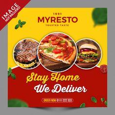 Stay Home We Deliver Food Social Media Post Restaurant Flyer, Pizza Restaurant, Restaurant Recipes, Breakfast Restaurants, Sushi Restaurants, International Sushi Day, Bio Food, Burger Menu, Food Poster Design