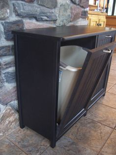 New Black Painted Wood Double Trash Bin Cabinet Garbage Can Tilt Out Doors