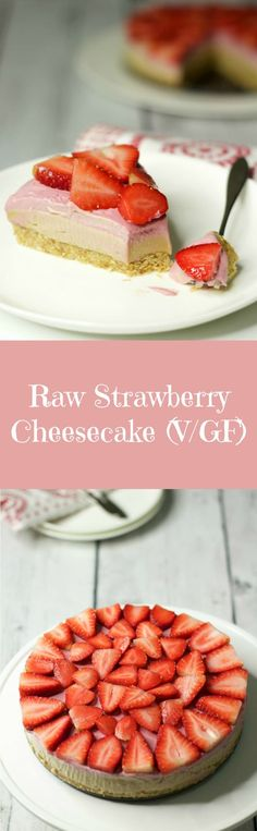 Gorgeous 3-layer Raw Strawberry Cheesecake. Raw, vegan and gluten-free this super healthy dessert is smooth, creamy and tastes like heaven! Vegan | Raw Vegan | Vegan Dessert | Vegan Cheesecake | Gluten Free | lovingitvegan.com