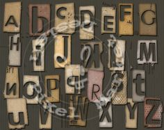 GRUNGE Industrial ALPHABET & NUMBERS Ransom Note Fonts Clear Background Png  Scrapbooking Web Blog DieCut Distressed Letter Stamp a01