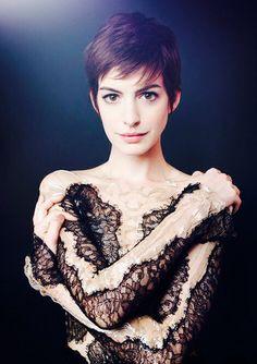 Anne Hathaway in a Black Lace Dress