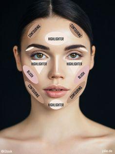 Contouring, highlight, makeup contour.