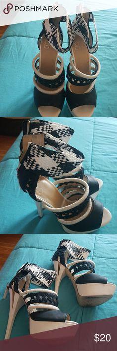 5 inch heels Pair of white and black heels GX by Gwen Stefani Shoes Heels