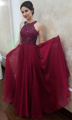 elegant burgundy long prom dress, 2018 long prom dress graduation dress, formal evening dress