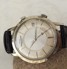 Vintage Jaeger LeCoultre Memovox Alarm Wristwatch In Stainless Steel