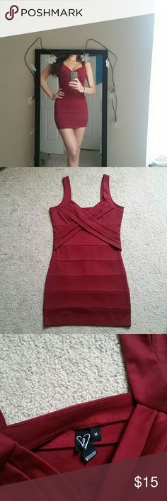 Windsor burgundy bodycon dress Windsor burgundy bodycon dress size M but it's snug! Fits me like a small or an xs. Worn one time. Color is a deep red/burgundy - photos making it look red WINDSOR Dresses Mini