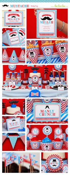 Mustache Bash Little man Birthday Party Package by LeeLaaLoo, $39.00