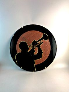 Louis Armstrong Vinyl Clock Jazz Hand Painted by InsaneDotting