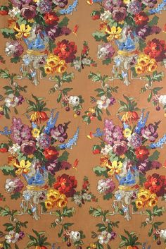 Hazelton House, Chinese Vase- another hand block-using 76 blocks features a hidden Chinese vase overflowing with English garden flowers in bold saturated colour. The original document is from Wallpaper Samples, Fabric Wallpaper, Pattern Wallpaper, Wallpaper Ideas, Textiles, Textile Patterns, Pretty Patterns, Flower Patterns, Stencil