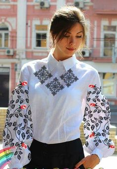 Folk Fashion, Ethnic Fashion, Girl Fashion, Fashion Outfits, Womens Fashion, How To Wear Shirt, Ukraine, Embroidered Clothes, Embroidery Fashion
