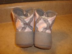 Pink and Gray Baby Boots with White Headband by RusticAttitude on Etsy