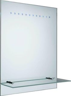 Bathroom Mirror LED Illuminated Contemporary Battery Frosted Glass Shelf Mount