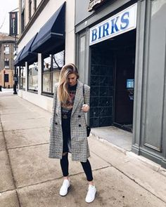 Plaid Coat, Plaid Pants, Outfits 2016, Casual Winter Outfits, White Sneakers, Military Jacket, Jeans, Personal Style, Winter Fashion