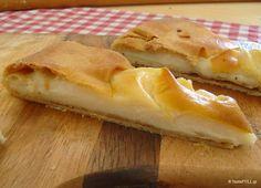 Αυτή η γαλατόπιτα είναι με φτιαγμένη με αλεύρι, όχι σιμιγδάλι και χωρίς αυγά. Η γεύση και η υφή της θυμίζει παιδική κρέμα. Greek Sweets, Greek Desserts, Sweet Buns, Sweet Pie, Low Calorie Cake, Semolina Cake, Breakfast Recipes, Dessert Recipes, Greek Cooking
