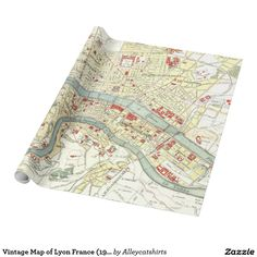 Vintage Map of Lyon France (1900) Wrapping Paper