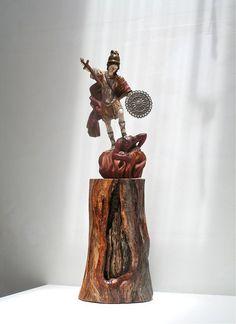 Statue Saint Michael Archangel Santos Wood Statue Sculpture Warrior