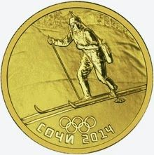 """Coins and Banknotes  50 rubles - Biathlon  The reverse side of the gold 50 Roubles coin """"Biathlon"""" depicts the relief image of a biathlete. The inscription in the lower part says """"СОЧИ 2014"""" (SOCHI 2014) and the image of five Olympic rings over it."""